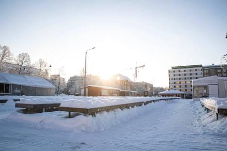 Sää jatkuu Pirkanmaallakin viikonloppuna talvisena. Tältä Tampereen Tammelantorilla näytti tiistaina 2. helmikuuta.