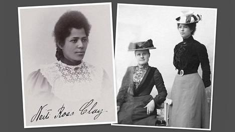 Rosa Clay ja Edith Smalén (istumassa) työskentelivät 1900-luvun ensimmäisellä vuosikymmenellä tamperelaisen Cederin koulun opettajina. Koulu sijaitsi nykyisen pääkirjasto Metson vaiheilla.