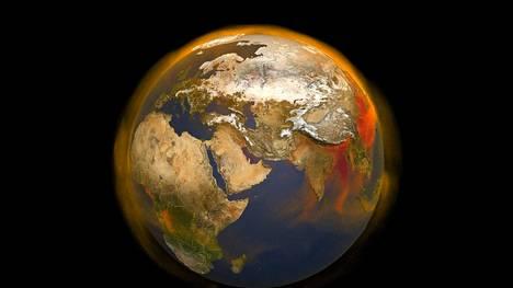 Muistatko vielä ilmastonmuutoksen? Nasan visualisoinnissa maapallo hohkaa metaania, joka on suuri lämpenemisen aiheuttaja.