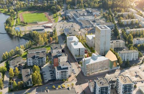 Havainnekuva Pirkkalan ydinkeskustan uudesta korttelista Suupantien ja Koulutien kulmassa. Korkein taloista olisi 16-kerroksinen.
