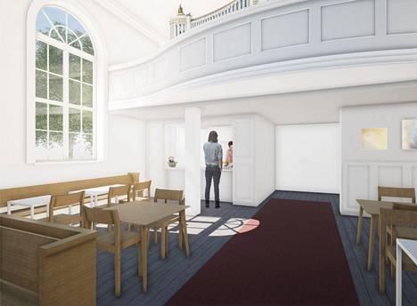 Tältä näyttää Vanhan kirkon uusi ilme parven alla. Kahviossa on kirkkosaliin avautuva tiski, joka on mahdollista sulkea kirkkosalista taiteovilla. Punaisen maton päässä on pääovi Keskustorin puolella.