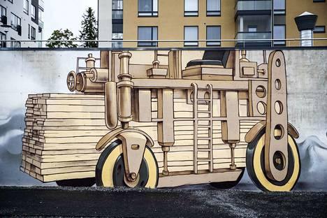 Konttilukkien esi-isä, sotakorvaustuote Lauta-auto on kuvattuna myös muraaliin. Cargotec oli konttilukkien isoin tuottaja.