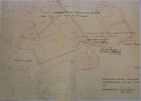 Kauppakirjan liitteenä olleeseen karttaan on rajattu punaisella 10 hehtaarin alue, josta kaupat tehtiin.