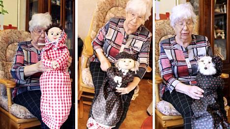 """Tuulikki ja Asko Sepposen käsissä syntyy monenlaisia esineitä nukeista, puukkoihin, koruihin ja maalauksiin. Punahilkka, isoäiti ja susi. Tuulikki Sepponen sai vanhasta kettupelleriinistä idean """"kääntönukesta""""."""