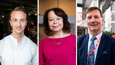 Sdp:n kansanedustajat Ilmari Nurminen (vas.), Pia Viitanen ja Jukka Gustafsson Tampereelta allekirjoittivat viime viikolla jätetyn kirjallisen kysymyksen pienistä työeläkkeistä.
