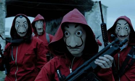Rahapajassa ryöstäjät pukeutuvat Dali-naamareihin.