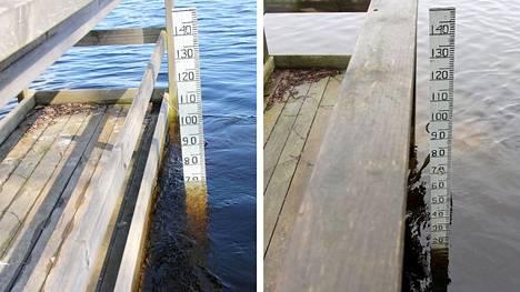 Koskelanlammen vedenkorkeus on noussut huomattavasti kolmessa viikossa. Vasen kuva on otettu 29.4.2021 ja oikea 7.4.2021.