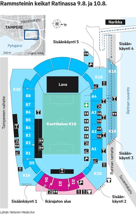 Konserttialueen kartta.