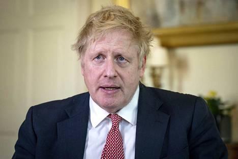 Britannian pääministeri Boris Johnson kuvattuna 12. huhtikuuta, jolloin hän pääsi pois sairaalasta.