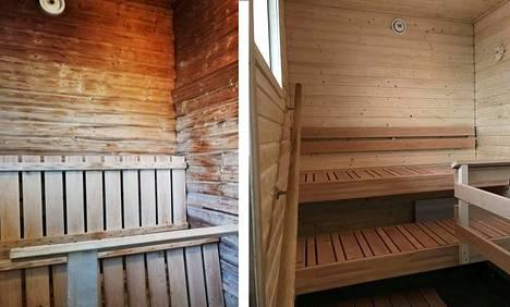 Koskenkodin sauna sai uutta ilmettä. Kuvassa vasemmalla sauna ennen remonttia ja oikealla remontin jälkeen.