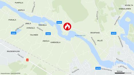 Palopaikka on noin kolmen kilometrin päässä Kokemäen keskustasta.