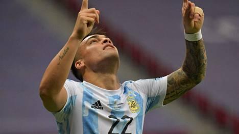 Lautaro Martinez avasi maalinteon Copa American välierässä.