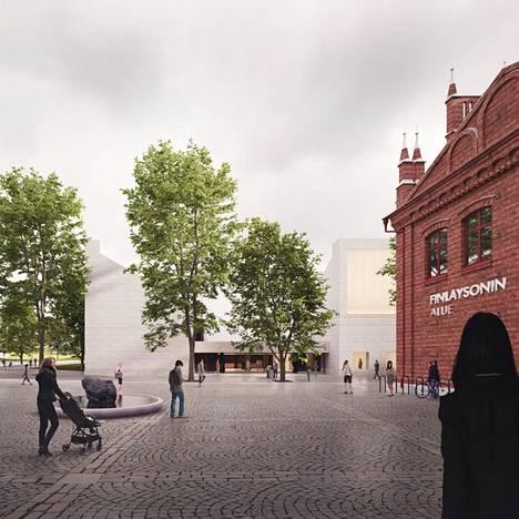 Havainnekuvassa voittajaehdotus Lumen valo. Sara Hildénin uusi taidemuseo nousee Finlaysonille vanhan pääkonttorin ja Finlaysonin palatsin väliselle parkkipaikalle.