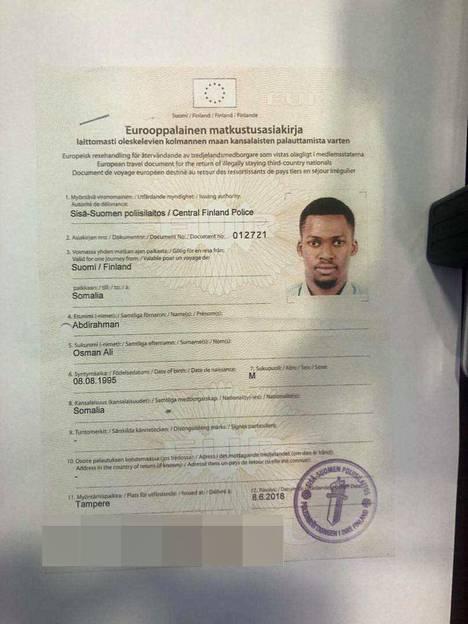 Osman Ali Abdirahmanilla oli mukanaan Sisä-Suomen poliisilaitoksen myöntämä eurooppalainen matkustusasiakirja, kun hänet käännytettiin Somaliaan kesällä 2018.