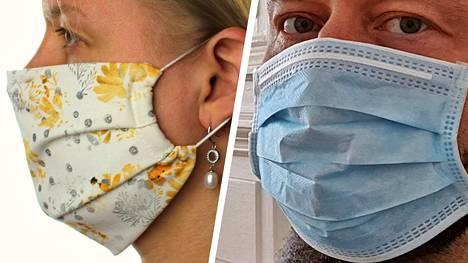 STM:n mukaan terveiden ja oireettomien asiakkaiden kanssa työntekijä voi käyttää kertakäyttöistä kirurgista suu-nenäsuojusta tai kankaista suojainta. Mikäli asiakkaalla on oireita, käytetään kirurgista suojusta.