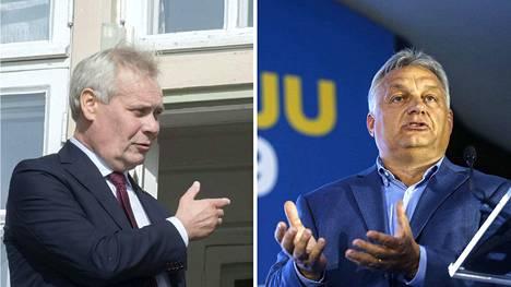 Pääministeri Antti Rinne (vasemmalla) tapaa Unkarin pääministerin Viktor Orbánin.