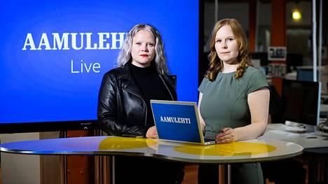 Suoran Pirkanmaan vaalivalvojaiset -lähetyksen juontavat Aamulehden toimittajat Saara Tunturi (vas.) ja Enni Mansikkamäki.