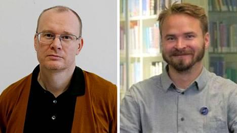 Tutkijatohtori Arttu Salo (vas.) ja väitöskirjatutkija Aleksi Hupli ovat perehtyneet kannabiskysymykseen.