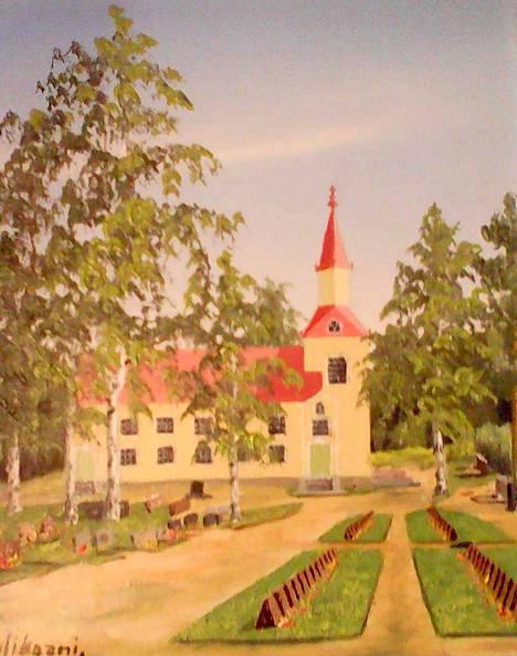 Vilppulan kirkkoa esittävän maalauksen on signeerannut Hulikaani, joka tunnettiin taiteilijanimellä Juhola. Taulu on maalattu arvioilta 1950-1960-luvulla.