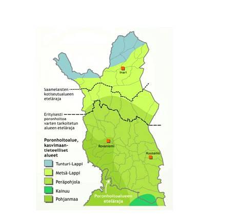 Suomen kasvimaantieteellinen aluejako Pohjois-Suomen osalta.