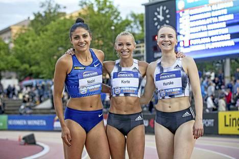 Nooralotta Neziri, Annimari Korte ja Reetta Hurske ovat juosseet kovia aikoja 100 metrin aidoissa pitkin kesää, mutta mihin riittää kolmikon vauhti perjantaina alkavissa MM-kisoissa? Veikkaa suomalaisten menestystä Dohassa vastaamalla Viikon kysymykseen!
