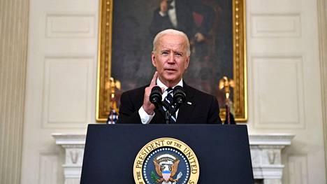 Yhdysvaltain presidentti Joe Biden puhui suunnitelmistaan estää deltavariantin leviäminen maassa Valkoisessa talossa 9. syyskuuta.