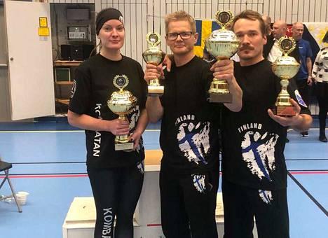 Merita Kevätsalo ja Pasi Lehtonen ottelivat kultaa, Jarkko Honkanen hopeaa.