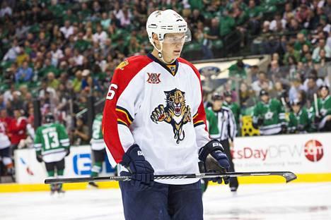 Aleksander Barkov pelasi ensimmäisen NHL-ottelunsa Dallasia vastaan 3. lokakuuta 2013.