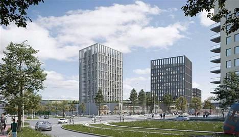 Havainnekuva näyttää Tampereen Sammonkadun itäpäähän rakennettavaksi ehdotetut 15- ja 13-kerroksiset talot.