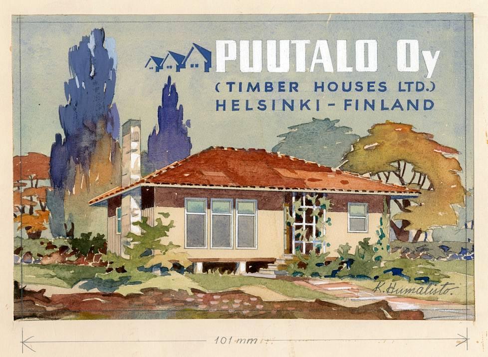 Kaarlo Humaliston tekemä mainoskuva esittää Australiaan suunniteltua talotyyppiä 739. Vuonna 1945 Puutalo Oy:n palvelukseen tullut Humalisto vastasi pitkälti yhtiön visuaalisesta identiteetistä 1960-luvun puoliväliin saakka.