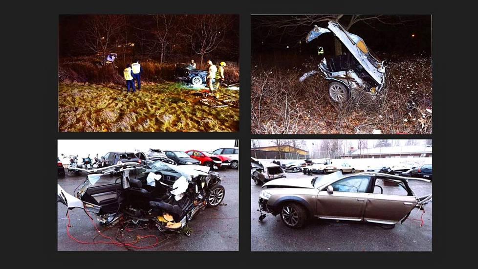Poliisin esitutkintamateriaalin kuvat kertovat karua kieltä Tiilimäen kuolonkolarin tuhoista.